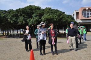 「日本一のガジュマル」のある国頭小を訪れた日本キューバ友好協会の会員ら=27日、和泊町国頭