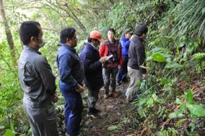 希少種の生息状況を確認する自然保護推進員ら=27日、徳之島