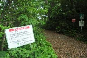 車両進入禁止用のゲート設置が計画されている金作原林道入口(奄美中央林道側)=奄美市名瀬