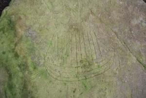 戸森の線刻画(天城町教育委員会提供)