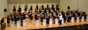 迫力ある演奏を披露した奄美ユースウインドバンドのスプリングコンサート=11日、奄美文化センター