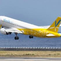 奄美―関西路線に就航するバニラ・エアの同型機。路線開設で、関西在住の奄美出身者の利便性向上や、新たな層の誘客が期待される