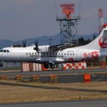鹿児島ー沖永良部に就航したJACの新型機「ATR42―600」