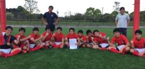 第4回全国高校7人制ラグビーフットボール大会県予選で2位に入賞した大島の選手ら(提供写真)