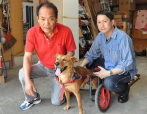 物語の主人公島田さん、ラッキー、著者の小林氏(左から)=1日、徳之島町