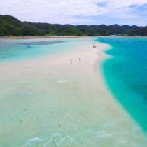 姿を現した「かくれ浜」を歩く観光客ら=26日午後1時20分ごろ、奄美市笠利町の喜瀬沖(本社無人機で撮影)