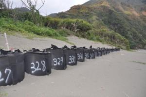 侵食を防ぐための土のうが並ぶ嘉徳海岸=3月、瀬戸内町