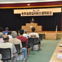 2期連続の黒字を計上した奄美漁協総会=21日、龍郷町