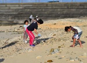 クリーン大作戦と銘打ち、海岸清掃に汗を流す参加者=18日、与論町