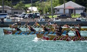 男女計67チームが熱戦を繰り広げたひらとみ祭りの舟こぎ競走=27日、大和村