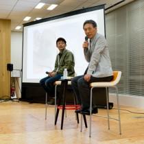 戦時中のコミュニケーションと映画論を展開した越川監督(左)=1日、東京・千代田区