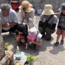 墓前に手を合わせて先祖の霊を迎える住民=13日、徳之島町亀津