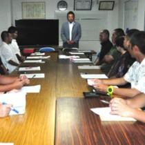 沖永良部島での豊かなスポーツ環境の実現を目的としたNPOの設立総会=29日、知名町