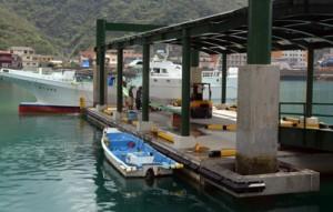 潮の干満に左右されずに水揚げ作業ができるように整備された浮桟橋(左)と、漁船からの水揚げ作業=奄美市名瀬大熊