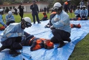 事故を想定してトリアージ訓練を行った隊員ら=9日、徳之島町徳和瀬