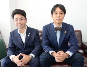 署名活動への協力を求める(左から)徳田実行委員長と渡太郎副委員長