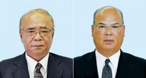 龍郷町長選に立候補した(右から)徳田康光氏、竹田泰典氏