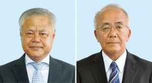 伊仙町挑戦に立候補した(右から)大久保明氏、伊喜功氏