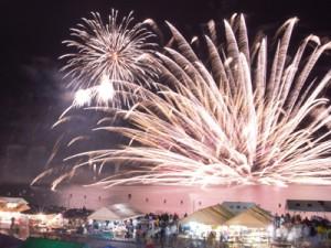 例年以上に盛大に行われたやけうちどんと祭りの花火=3日、宇検村湯湾