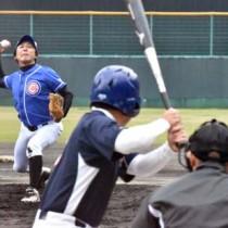 南海日日旗争奪地区対抗野球。開幕試合の上方―伊津部=23日、名瀬運動公園市民球場