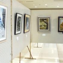 奄美の風景を描いた作品も目立った交流展=14日、霧島市