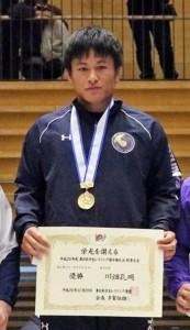 レスリングの東日本学生秋季選手権フリースタイル86㌔級で優勝した川畑孔明(提供写真)