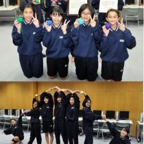 初の全国大会出場へ意気込む天城中女子ダンスチーム「ニジリンゴ」(上)、7人が手をつないで虹を表現する創作ダンス=21日、天城中学校