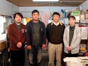 喜界町で始動したNPO法人「ゆらい」のスタッフ(右から中村理事長、平石副理事長)ら(喜界町提供)