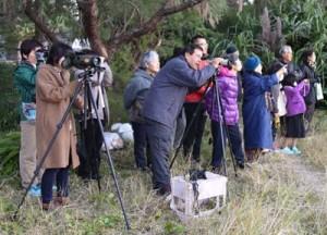 冬鳥の観察を楽しんだ探鳥会参加者ら=1日朝、奄美市笠利町の大瀬海岸