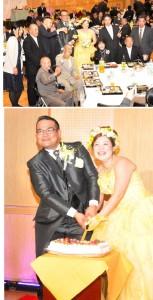 防災センターで初めて開かれた結婚式(上)とケーキ入刀で笑顔を見せる大悟さん、里美さん(写真左から)=5日、天城町防災センター