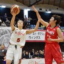 ゴール下でシュートを放つ富士通レッドウェーブの曽我部(左)=18日、名瀬総合体育館