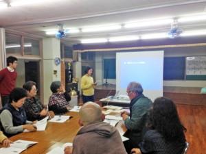 地域の課題解決策を提案した駒澤大学の集落点検報告会=18日、宇検村佐念