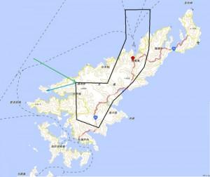 沖縄県名護市沖で事故を起こしたオスプレイの奄美大島上空の飛行経路図(頼和太郎氏分析、リムピース提供)
