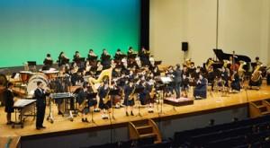 迫力ある演奏を披露した奄美ユースウインドバンドのスプリングコンサート=25日、奄美文化センター