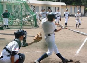 投打で強豪の力を示した東海大付属の選手たち=29日、大島高グラウンド