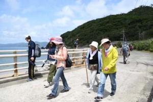 好天の下、歩きながら請島の風景を楽しむウオークラリー参加者ら=22日、瀬戸内町請島