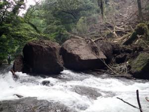 土砂や巨石が流れ込んだ被災後の広河原=2016年4月20日、菊池市の菊池渓谷(同市提供)