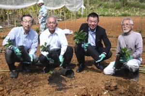 苗植え式に出席した徳之島コーヒー生産支援プロジェクトの代表者ら=20日、伊仙町面縄