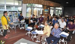 指定管理施設「エラブココ」で開かれたおきのえらぶ島観光協会総会=14日、知名町屋者