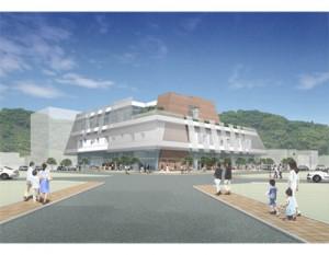 奄美市市民交流センターの完成予想図