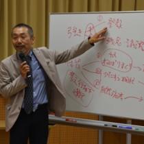 世界自然遺産に関して保護の重要性を訴えた萩野教授=13日、奄美市名瀬の県立奄美図書館