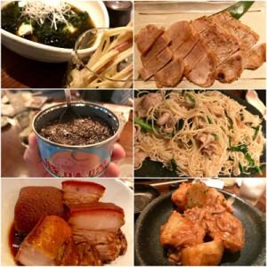 徳之島と黒糖焼酎の魅力を解説する石原さん(上)。イベントで並んだ料理=東京・渋谷区