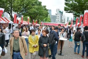 たくさんの人でにぎわう鹿児島焼酎&ミュージックフェス=16日、東京都