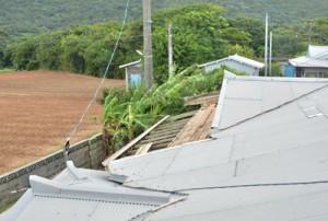 台風7号の強風で屋根が損壊した住家=3日午後4時ごろ、龍郷町