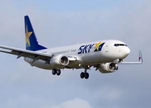 8月1日に鹿児島と奄美大島、名古屋を結ぶスカイマークのボーイング737―800型機(スカイマーク提供)