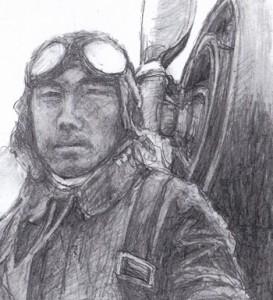 藤野軍曹の写真を基に有田さんが描いた鉛筆画
