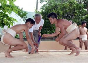 勇壮な掛け声に合わせて集落を練り歩く振り出し(上)。3本勝負で行われた兄弟相撲=12日、宇検村田検