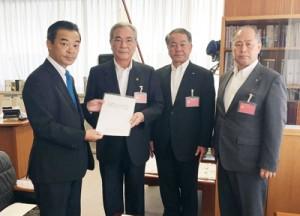 奄美大島の首長による九州防衛局への要請活動=7月19日、福岡市(奄美市提供)