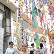 華やかなささ飾りが登場した中央通りアーケード=14日、奄美市名瀬