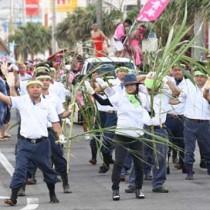 約870人が参加したどんどん祭りパレード=12日、徳之島町亀津